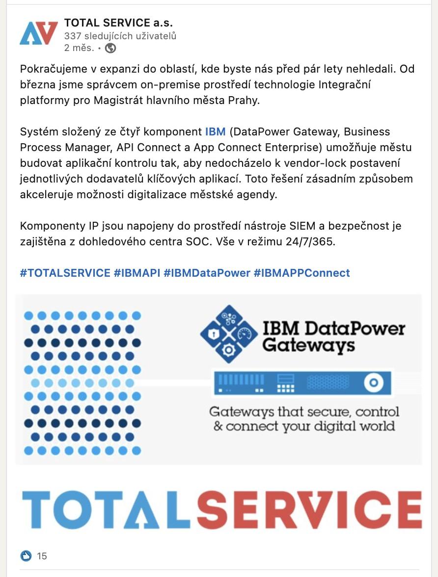 TOTAL SERVICE se stal komerčním partnerem roku společnosti IBM